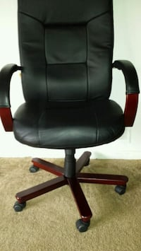 Black Leather and Red Wood Office Chair 30 km