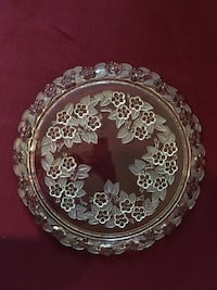 """Vintage Walter Mikasa Carmen Crystal Glass Frosted 13"""" Cake Plate New York"""