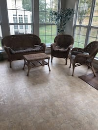 two brown wooden framed brown padded armchairs Upper Marlboro, 20774