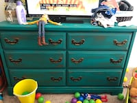Teal wooden 6 drawer dresser no railings  Huntsville, 35806