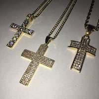 "18K Gold Plated Stainless Steel Iced Crosses + 24"" Cuban / Rope Chain"