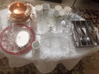 Clear glass dinnerware set and cutlery set kitchen stuff final moving sale cheap Toronto, M2H 2X3