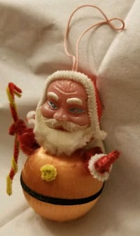 Vintage or antique Santa Christmas Ornament. satin Layton, 84040