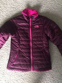 Pink The North Face zip-up reversible jacket Girls size 10/12