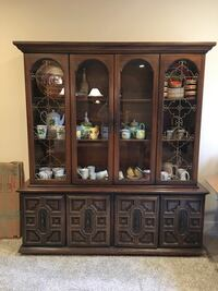 Brown wooden lighted framed glass China cabinet Manassas, 20112
