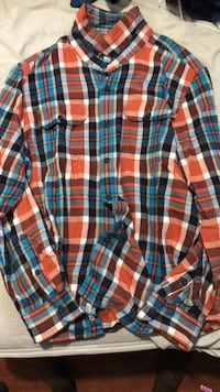 Men's orange plaid flannel shirt Ajax, L1Z 1Z1