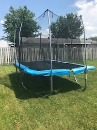 blue and black trampoline with enclosure Hunters Hollow, 40229