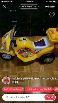 yellow and blue ride on toy car screenshot Toronto, M9A 4Y1