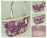 pink and white floral tote bag