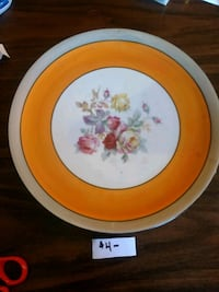 round white and brown floral ceramic plate Halifax