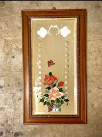 VTG Hand-Painted Rose Mirror