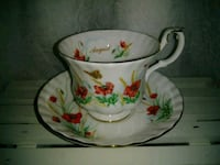 white and red floral ceramic teacup North Vancouver, V7M 2N2