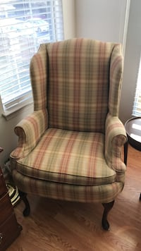 brown, pink and green plaid fabric wing chair Springfield, 22150