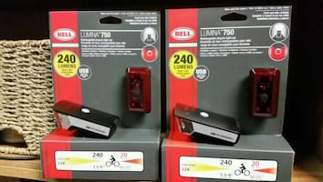 Rechargeable headlight kit with tail light for bicycles $30