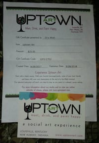 Uptown Art gift certificate  New Albany, 47150