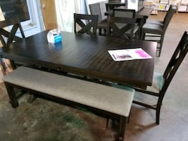 Dining table with chairs, Bench, and leaf
