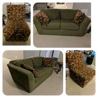 Green loveseat and chair with matching pillows Brandywine, 20613