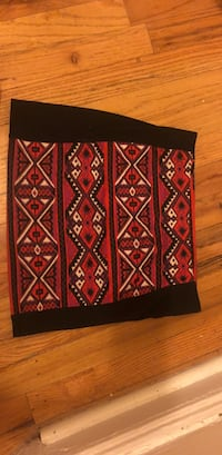 Red, white, and black tribal print textile New York, 11369
