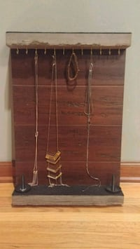 Jewelry holder wall mount, solid bamboo and genuine barn wood, brass