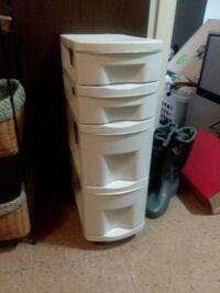white plastic 3-drawer cart