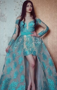 women's teal and white floral dress 552 km