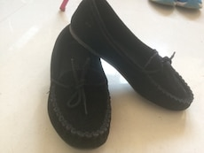 women's black suede loafers