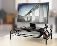 (2) Monitor Stands with Storage Drawer and Side Co Frederick