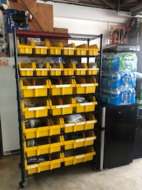 Tools.-parts-rack-organizer with bins on wheels