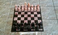Hand carved chess game pink and onyx quartz