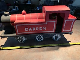 Antique wooden train, as big as a toddler sit on car!!