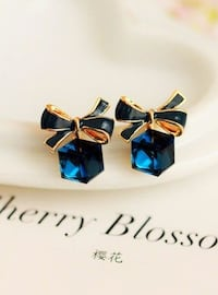 New Blue Lady Bow Crystal Cubic Earrings