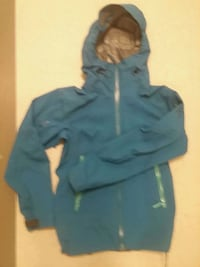 blue zip-up womens arcteryx rain jacket.  Vancouver