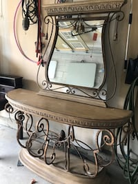 Decor table with mirror and sliegh headboard