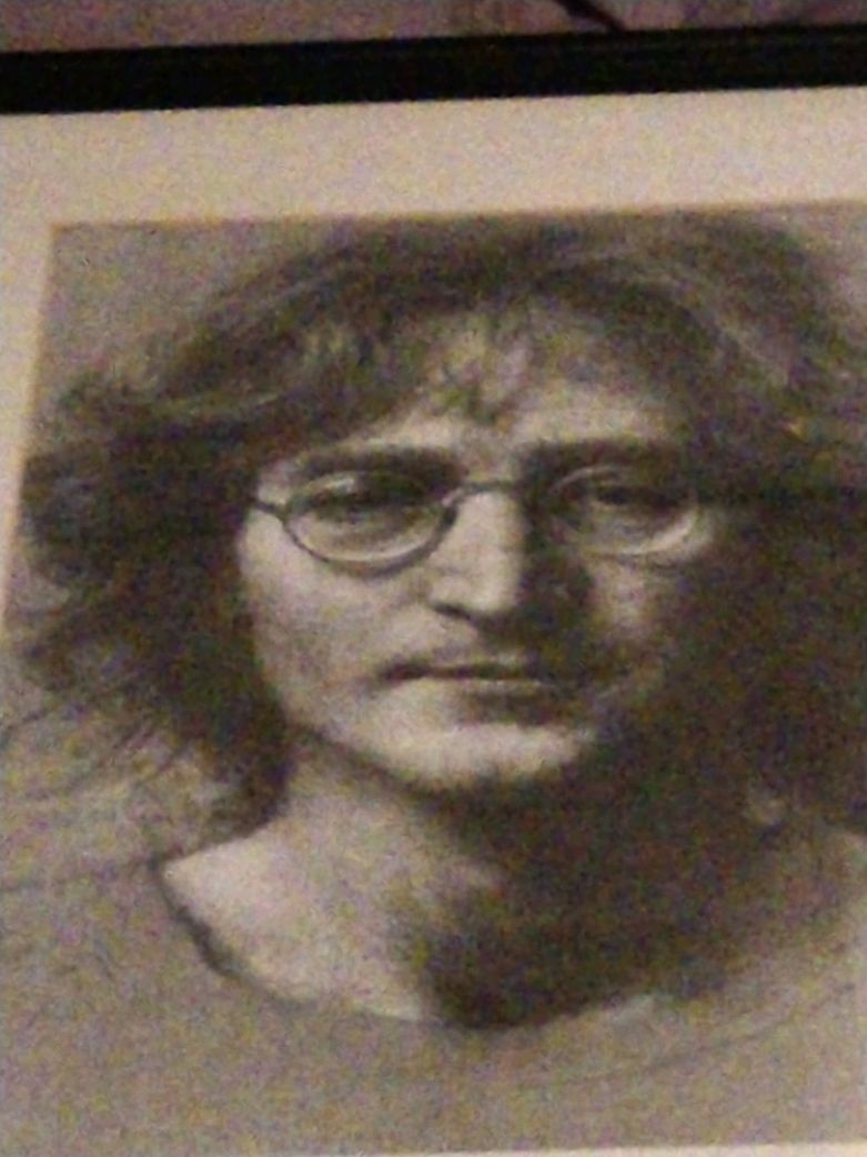 Photo John Lennon pencil scetch with matting and black f