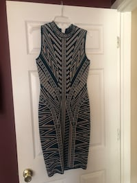 Marciano size small dress teal green and tan fitted Goshen, 10924