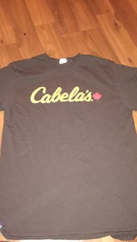 brown and yellow Cabela's printed crew-neck t-shirt