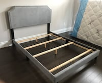 Brand new grey velvet queen bed frame with adjustable headboard  多伦多
