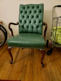 green leather padded brown wooden armchair Brooklyn, 11216
