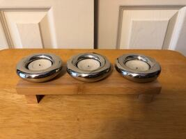 3 TEALIGHT Candles On Wood Base