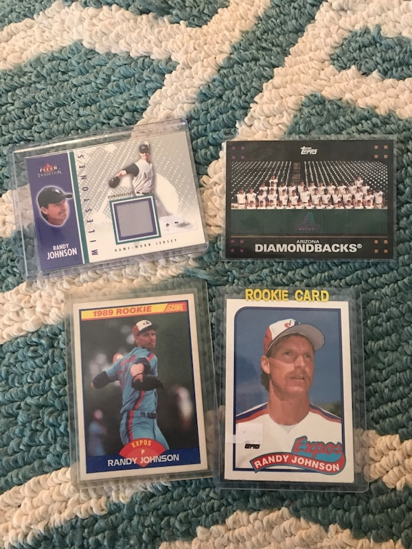 Three Randy Johnson Trading Cards 2 Rookies And One Jersey Card