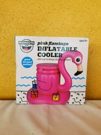 Pink flamingo inflatable cooler floaty