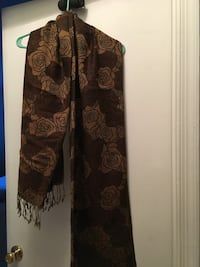 Black & tan flower shawl