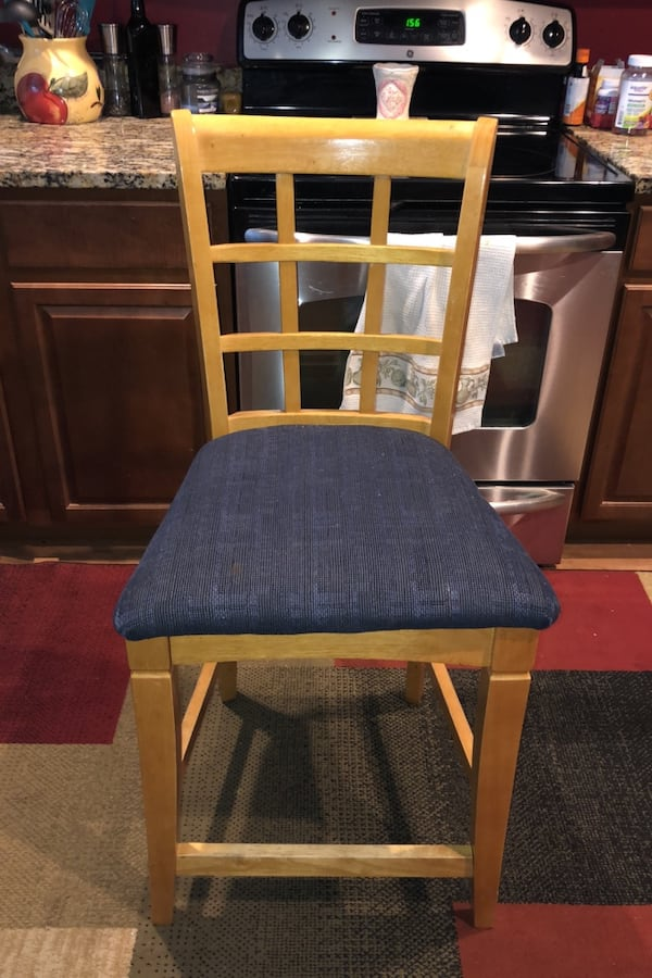 Two wood high height bar height chairs. Very nice.. 99f5eb13-2bf7-4d74-8cfb-9bf6c994a331