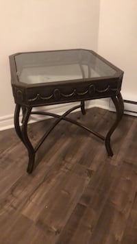 Rectangular brown wooden framed glass-top coffee table Montréal, H2K 4B2