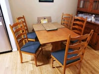 rectangular brown wooden table with four chairs dining set Chester, 23836