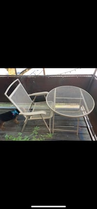 Outdoor table and chair - metal and foldable