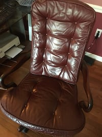 brown leather tufted padded armchair Hatboro, 19040
