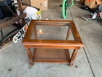 wooden in tables with glass