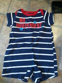baby's blue, white, and red striped Mr.Independent onesie ] Niles, 44446