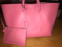 Pink leather tote bag and wristlet New York, 10308